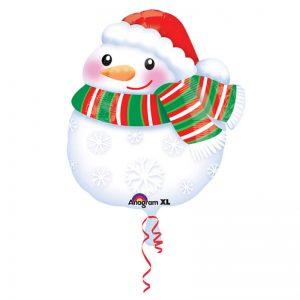 Snögubbe med Tomteluva Folieballong