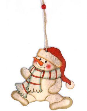 Snögubbe med Halsduk och Tomteluva - 10 cm Julgranspynt